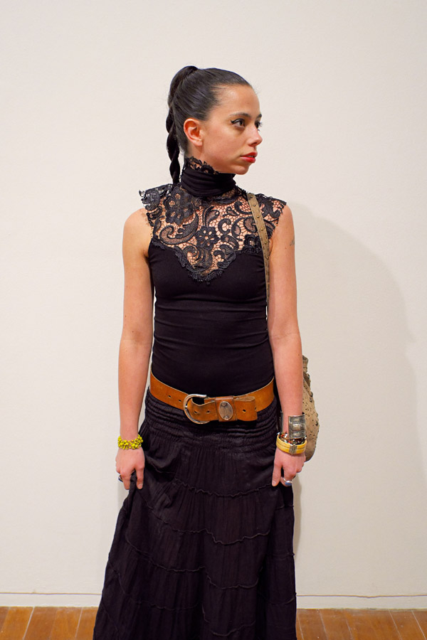 Lexi Land, artist 'fashion' portrait at Bill Henson Opening - Black lace teamed with black Spanish peasant skirt. Tan and yellow accessories..