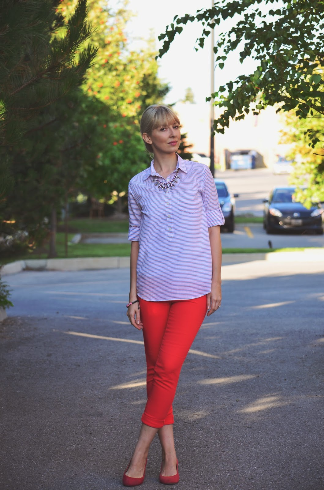 red striped shirt, jcrew shirt, red white and blue