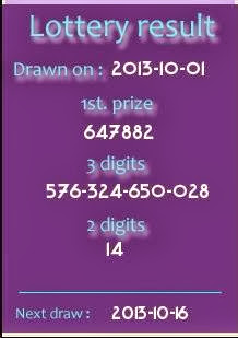 Thai Lotto Result 01 October 2013
