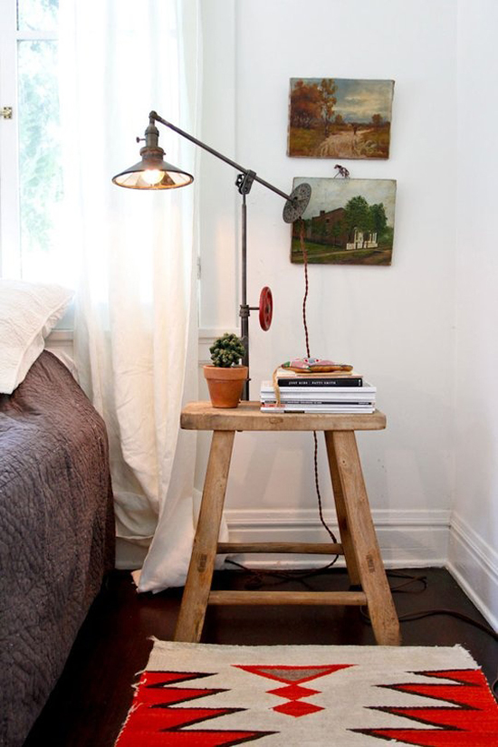 Creative bedside table  via Apartment Therapy