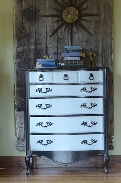 how to update a french provincial dresser, how to use metallic paint, diy, before and after, furniture makeovers