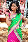 Pujitha sizzling in half saree-thumbnail-1