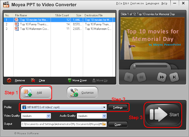 Interface of Moyea PPT to Video Converter