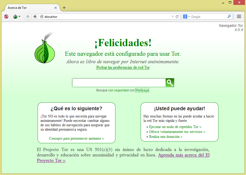 Interfez principal del Tor Browser Bundle