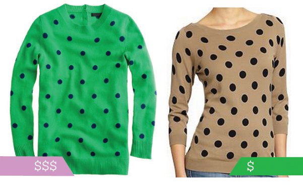 budget-friendly polka dot sweater