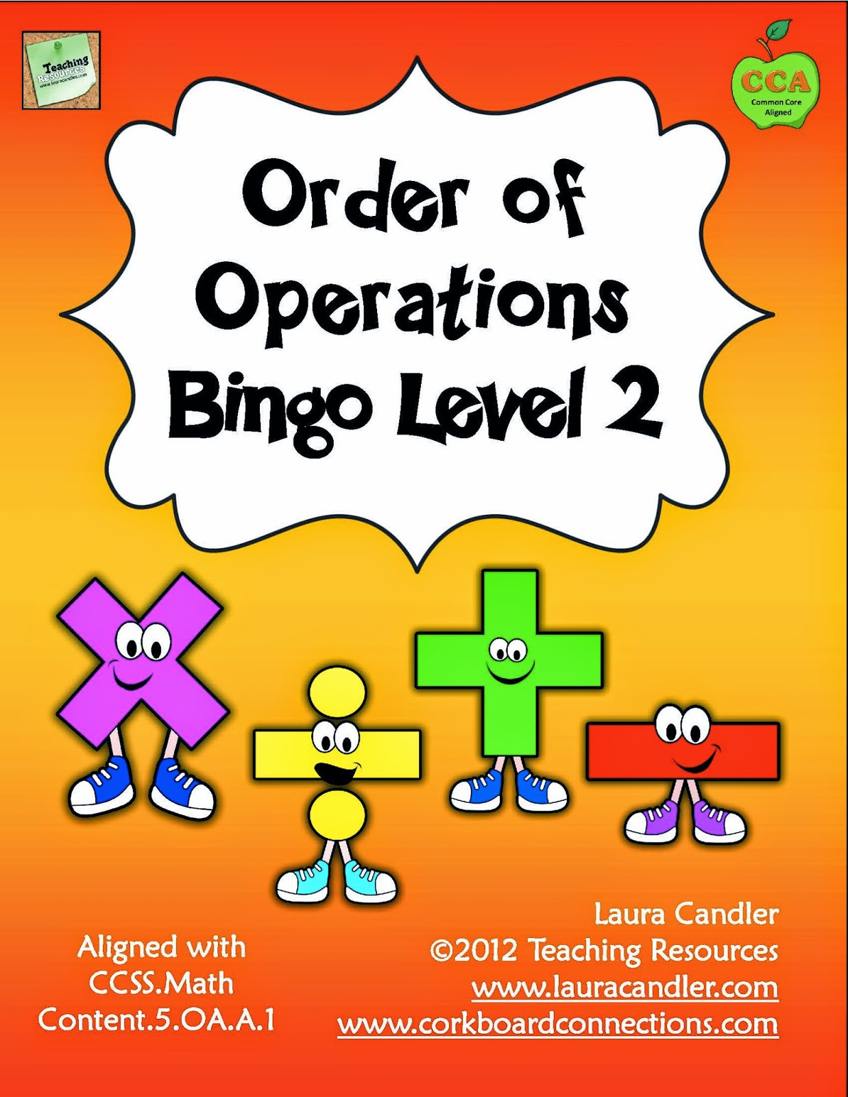 worksheet Order Of Operation teachingisagift ooo i love it order of operations bingo game game