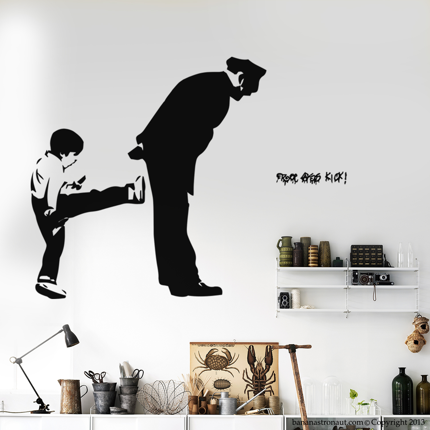 banksy wall decal free kick ass street art modern home wall decorate your home or office with our modern character decals we are group of graphic designer specialized in vinyl decal