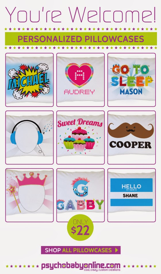 Shop Personalized Pillowcases from Psychobaby