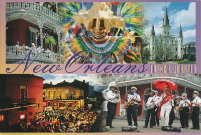 Multiview postcard showing musicians, costumes, baconies, street scenes, architecture