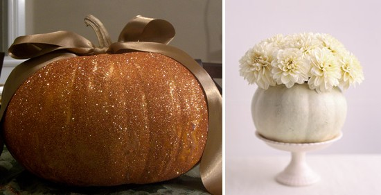 When decorating for your wedding utilize pumpkins and gourds in all shapes