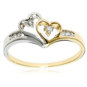 14k Two-Tone Diamond Heart Ring