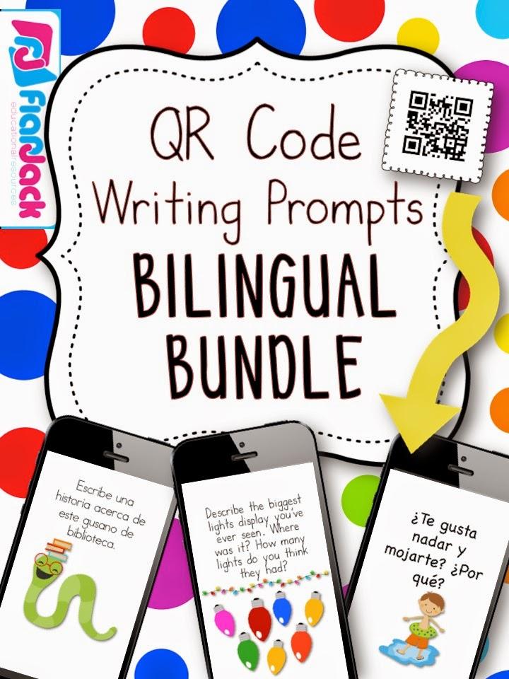 http://www.teacherspayteachers.com/Product/All-Year-Long-BILINGUAL-QR-Code-Writing-Prompts-Bundle-1348196