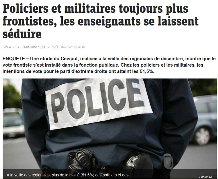 Policiers et militaires toujours plus frontistes, les enseignants se laissent séduire
