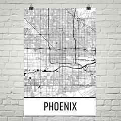 Phoenix Map by Modern Map Art