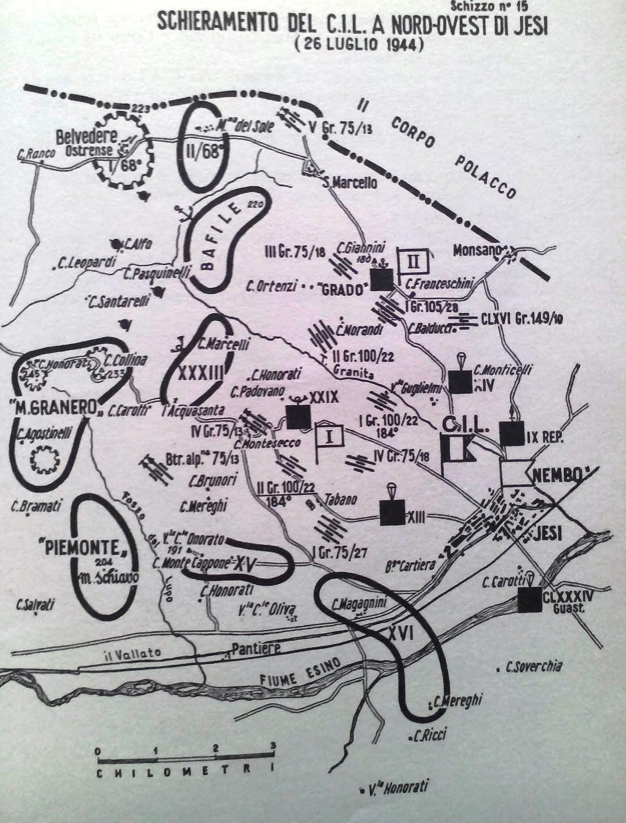Schieramento del Corpo Italiano di Liberazione 26 luglio 1944