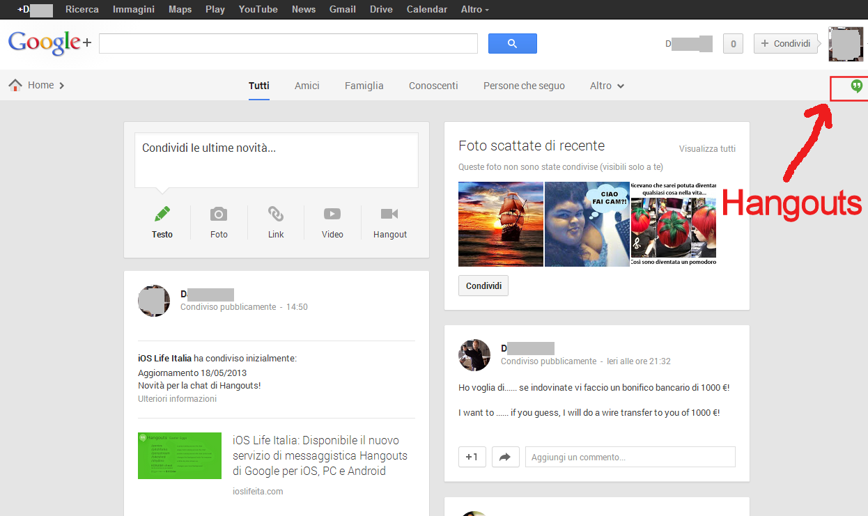 how to open google hangouts on gmail