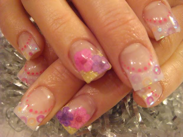 nail art neon sequin nails