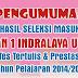 PENGUMUMAN HASIL SEKESI MASUK    SMA NEGERI 1 INDRALAYA UTARA  TAHUN PELAJARAN 2014/2015