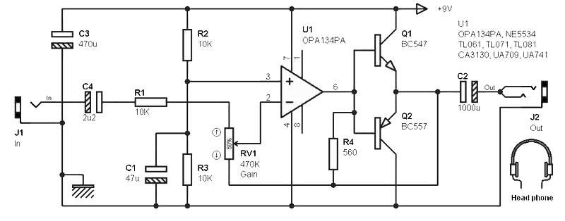 input stage amplifier opa134pa