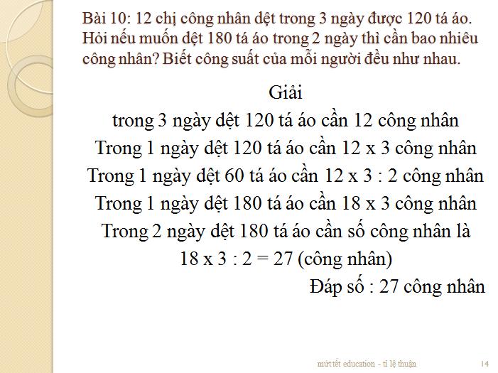 Các dạng bài toán tỉ lệ thuận - toán lớp 5 - tiết 2