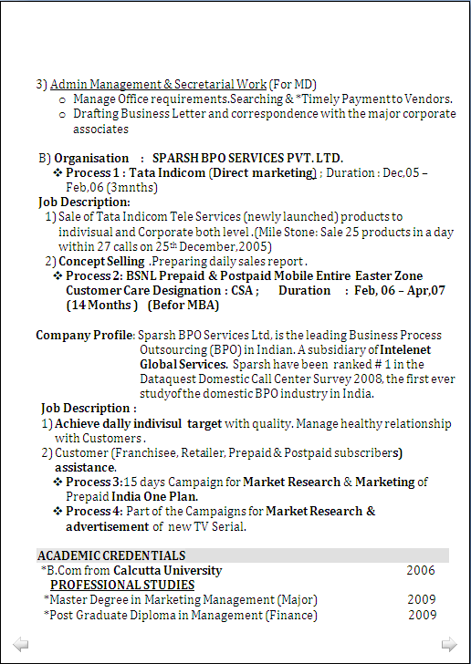 resume sample   for mba  marketing   u0026 pgd  finance  with 6