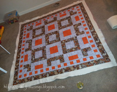 Fall Mystery Quilt all basted up