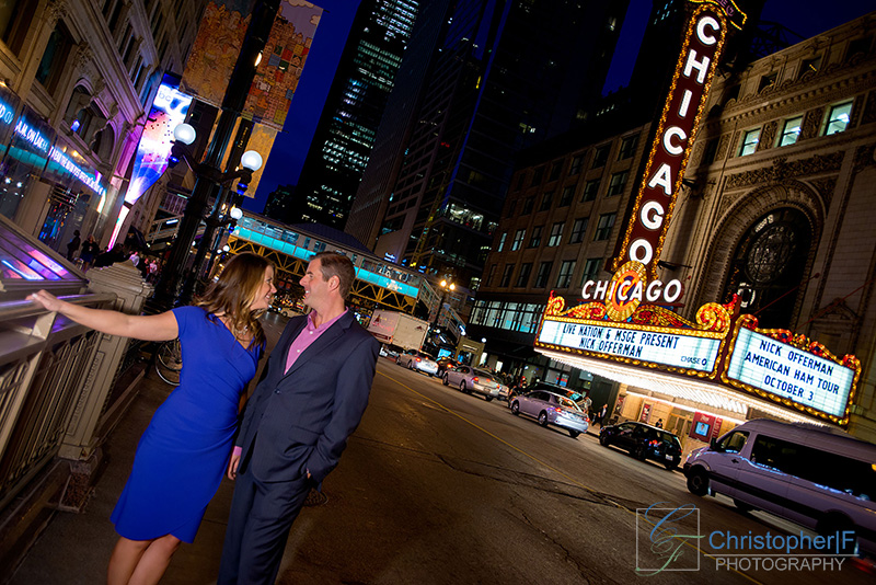 Downtown Chicago Night Engagement Photo