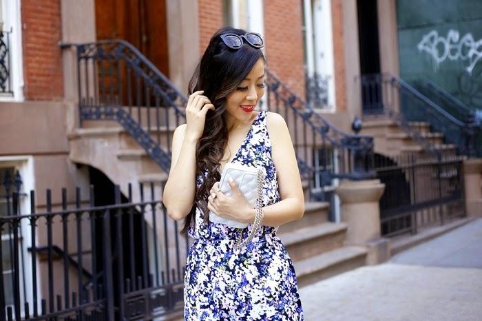 floral jumpsuit, fashion blog, marc jacobs bag, schutz sandals, new york city, street style, how to wear jumpsuit, karen walker super dumper sunglasses