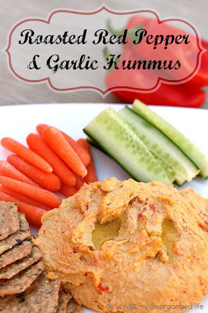 Roasted Red Pepper & Garlic Hummus {i love} my disorganized life