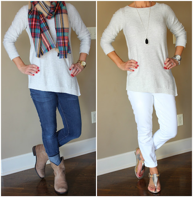 What to wear, outfit ideas, casual outfit, Banana Republic asymmetrical sweater, fashion blogger