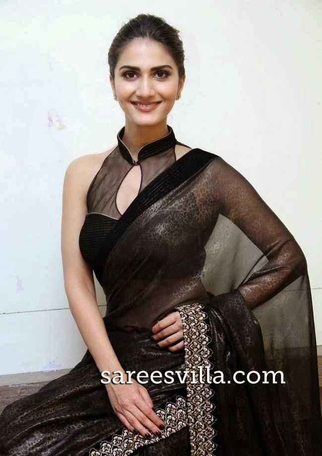 Vaani Kapoor In Black High Collar Blouse