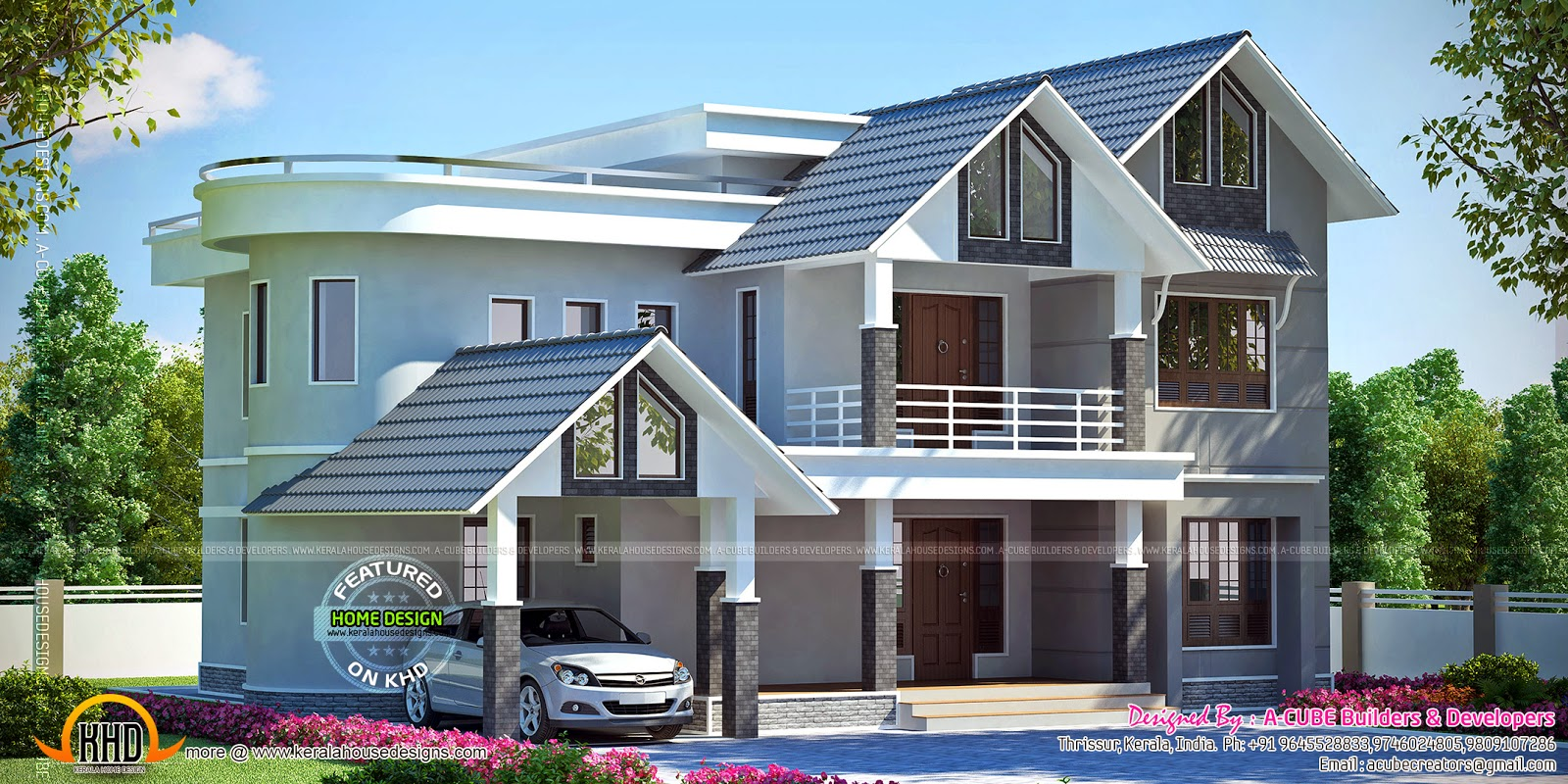 Beautiful 322 square yards villa kerala home design and for Beautiful villa design
