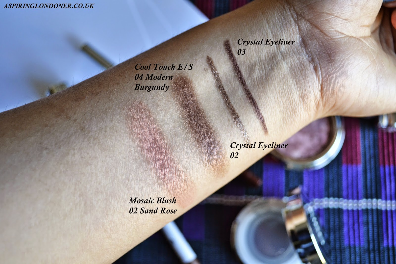 Kiko Cosmetics Mosaic Blush Sand Rose and Cool Touch Eyeshadow 05 Modern Burgundy Swatch - Aspiring Londoner