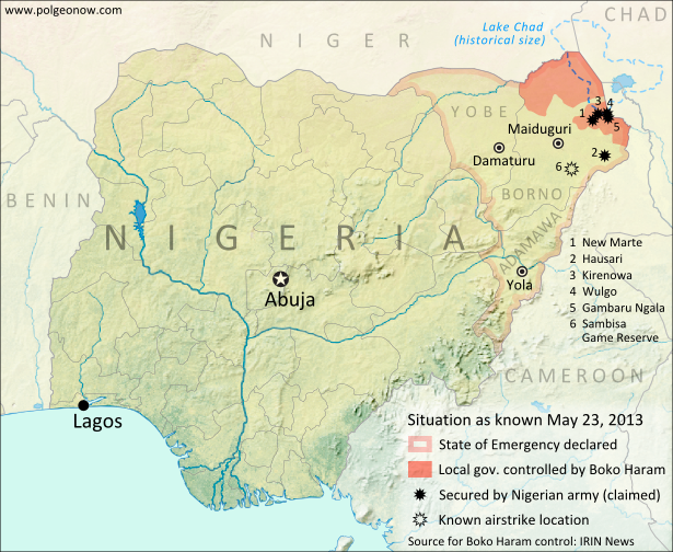 Map of Boko Haram control in Nigeria in May 2013