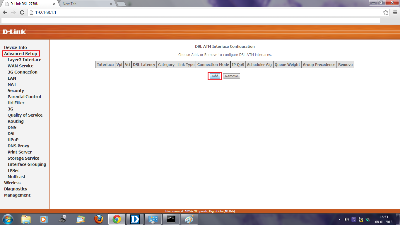 and VCI as 35 for BSNL and 32 for MTNL.Select DSL Latency : Path 0