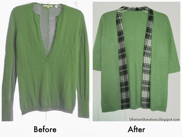 Green Sweater to Cardigan Refashion