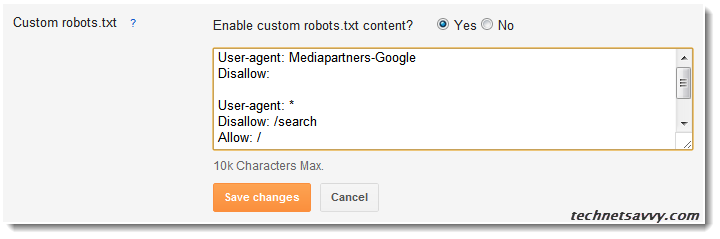 BlogSpot custom robots.txt file