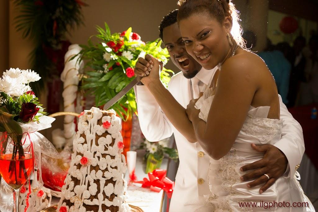 Mariage de Steffy et Manuel: réception, découpe du gâteau