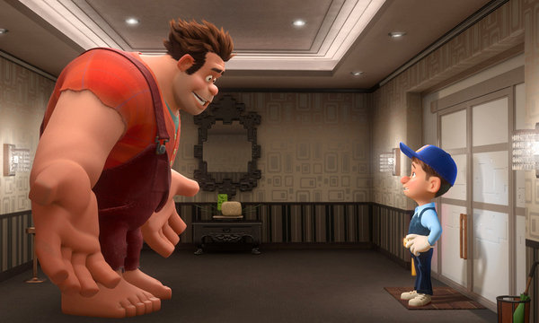 Fix-It Felix Jack McBrayer confronts Wreck-It Ralph animatedfilmreviews.filminspector.com