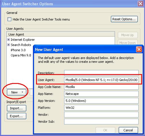 opera mini user agent