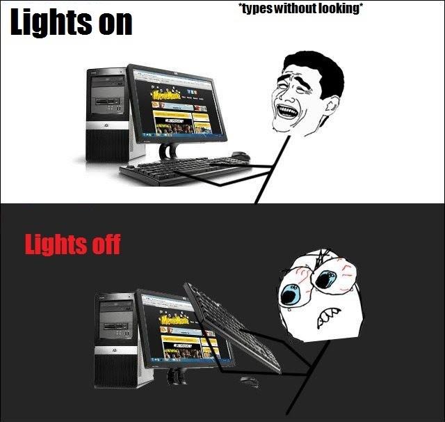 Typing - Lights On vs Lights Off