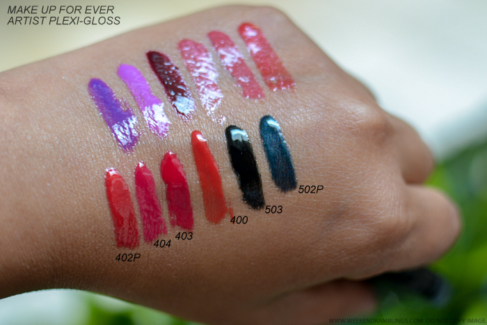 MUFE Make Up For Ever Artist Plexigloss Swatches 402P 404 403 400 503 502P