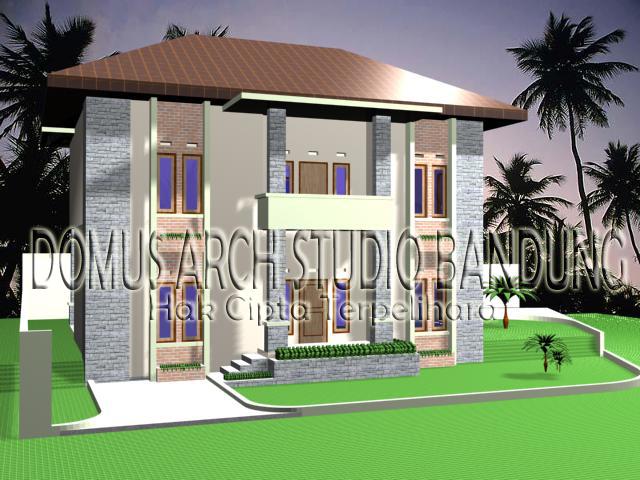 Rumah Tinggal 2 Domus Arch Studio Bandung Dua Lantai Kawasan