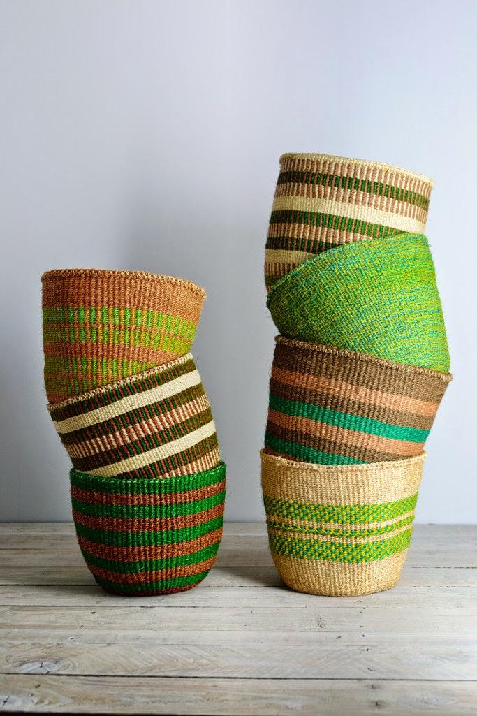 Green African woven baskets Kenya
