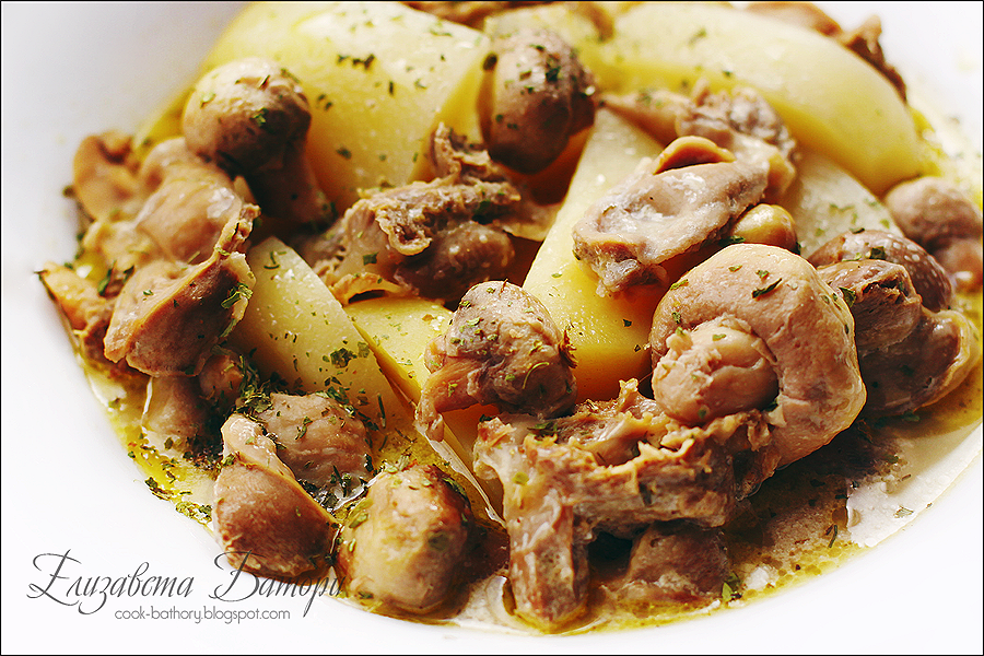 Картошка тушеная с куриными желудками рецепт с пошагово