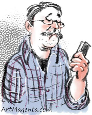 Texting on your mobile is a caricature by artist and illustrator Artmagenta