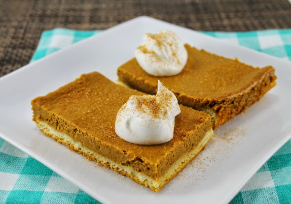 Super easy Pumpkin Pie Bars using Crescent Roll Dough as crust!