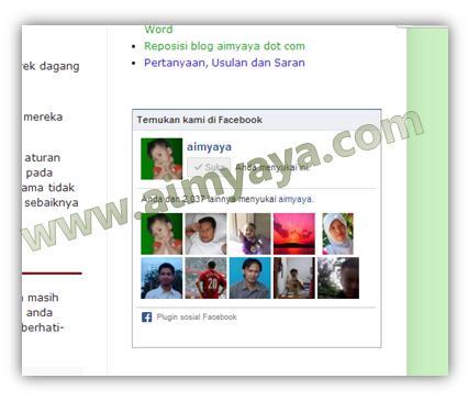 Gambar: Contoh Page Faceboook aimyaya dot com