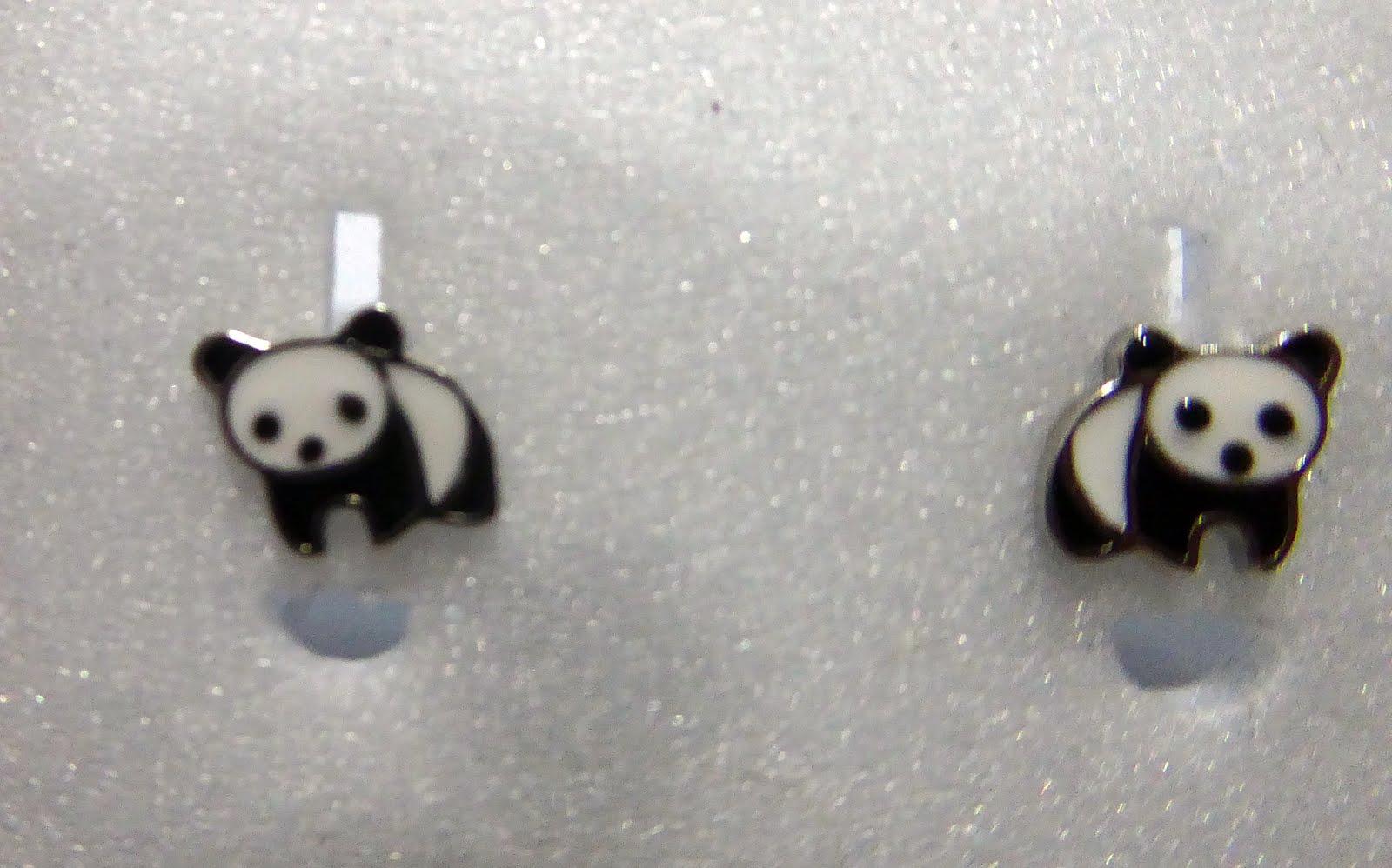 Pendientes de Oso Panda, en plata