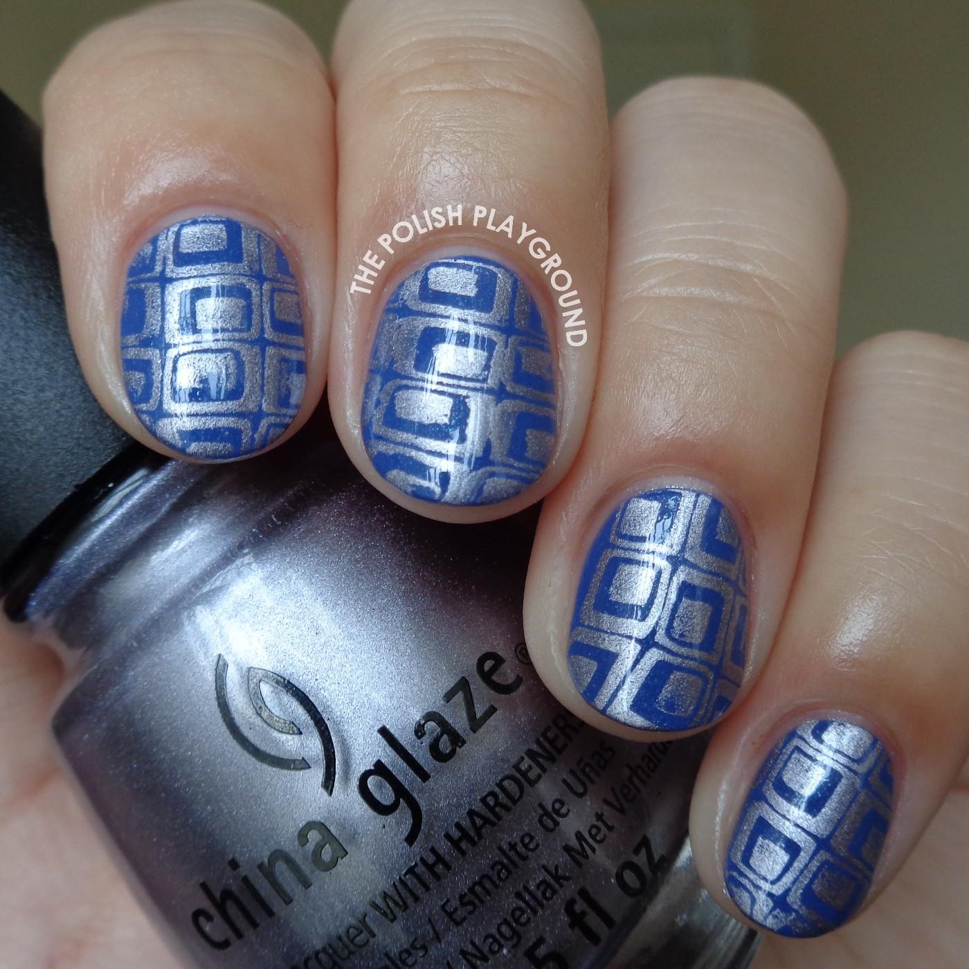Disco Themed Wallpaper Stamping Nail Art